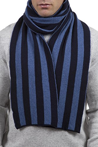 Great and British Knitwear Men's 100% Lambswool Striped College Scarf-Nero Navy/Blue-One Size