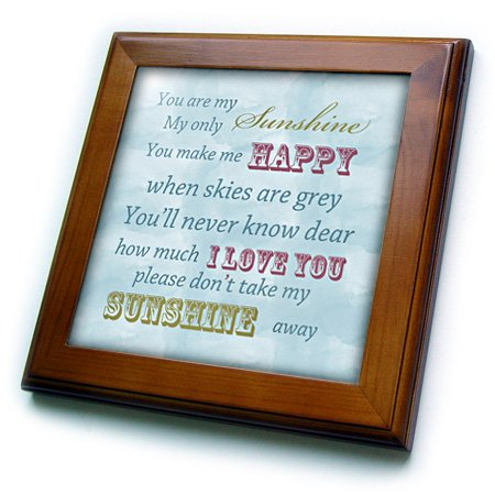 Framed Sky Tile - 3dRose ft_164541_1 You are My Sunshine Blue Sky Inspirational Art-Framed Tile Artwork, 8 by 8-Inch