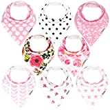 Baby : KiddyStar Bandana Bibs for Girls, 8-Pack Drool Bib Set, Organic, Adjustable, Soft, Absorbent, Stylish and Chic Prints, Newborn and Baby Shower Gift for Drooling and Teething