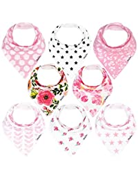KiddyStar Bandana Bibs for Girls, 8-Pack Drool Bib Set, Organic, Adjustable, Soft, Absorbent, Stylish and Chic Prints, Newborn and Baby Shower Gift for Drooling and Teething BOBEBE Online Baby Store From New York to Miami and Los Angeles