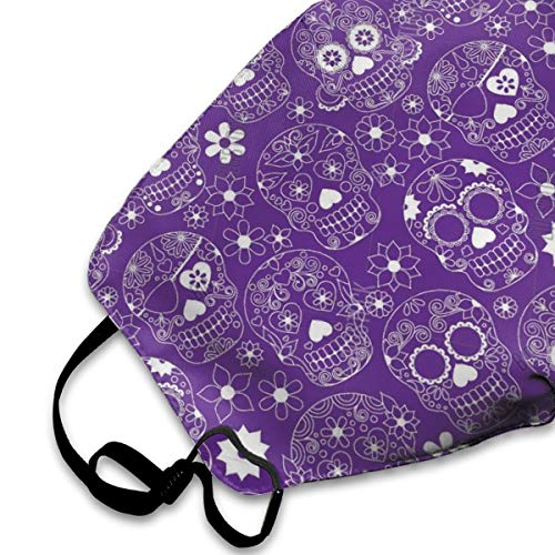 Befectar Upgrade Women Man Teens Breathable Half Face Mouth Mask - Adjustable Earloop Safety Anti Dust Pollution Face Mask for Running Cycling Travel Skiing Purple Floral Sugar Skull