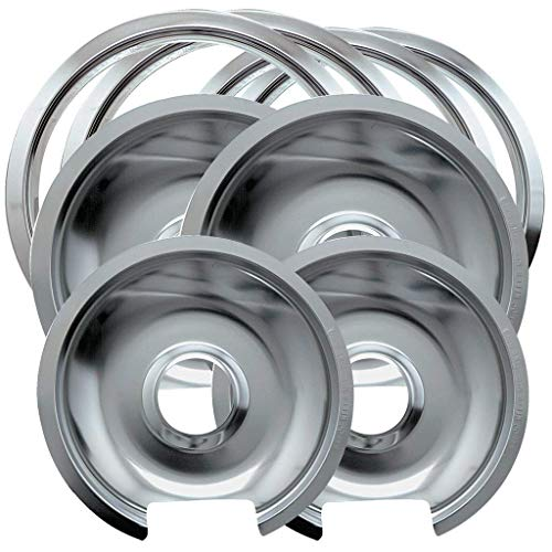 "1056RGE8 Style D Chrome 8-piece, 2 Small 6"" & 2 Large 8"" Pan/Ring Set Replacement for GE/Hotpoint"