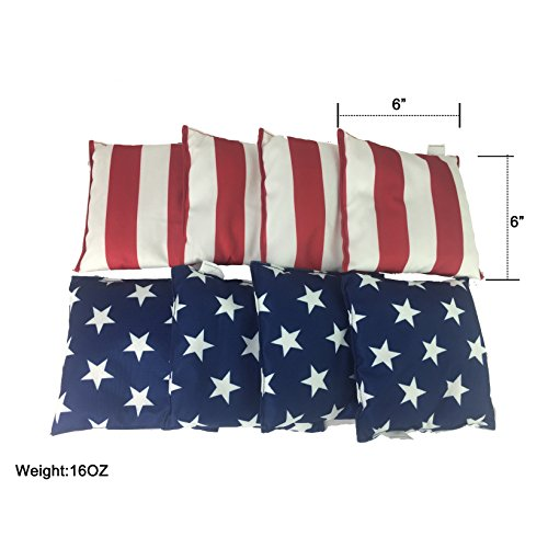 SPORT BEATS Water Proof Cornhole Bags Standard Bean Bags Toss Set of 8 for Tailgating 6 x 6 16OZ (Flag)