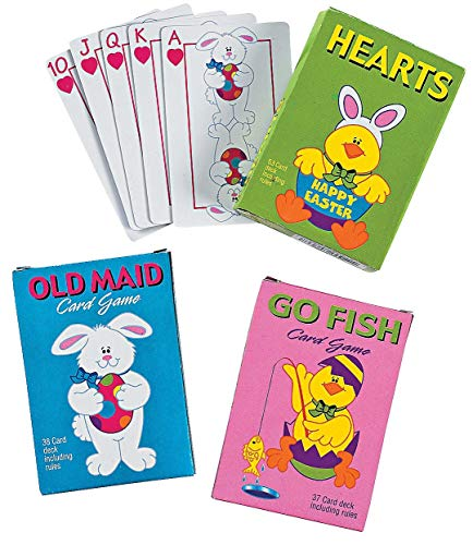 HAPPY DEALS ~ Easter Playing Cards - Go Fish, Hearts and Old Maid - Easter Basket fillers and Novelties ()