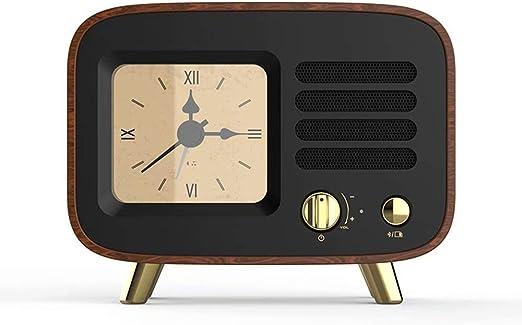 Despertador Bluetooth Altavoz portátil Retro Original Madera Reloj Radio subwoofer al Aire libre-13 * 5.2 * 10.2cm: Amazon.es: Hogar