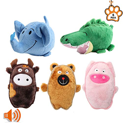Petbemo Squeaky Dog Toys Puppy Toy Funny Animal Sets Pet Chew Toys Interactive Play for for Puppies and Medium to Large Pets?Pack of 5?