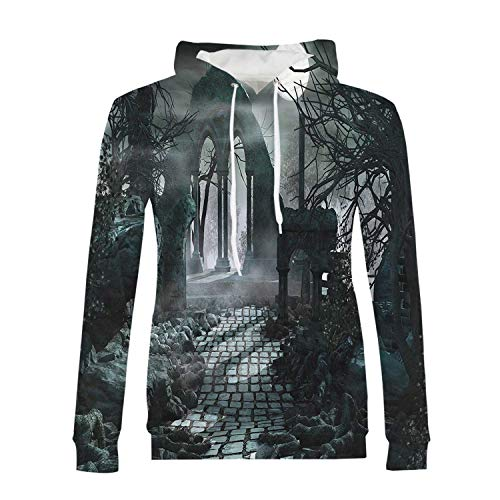 Gothic Decor Stylish Hoodies,Full Moon Light Over Medieval Temple Ruins at Night Dark Scary Backdrop Image for Girls,XS