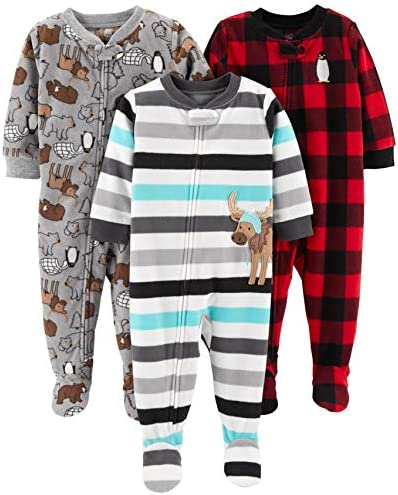 Simple Joys through Carter's Baby and Toddler Boys' 3-Pack Loose Fit Fleece Footed Pajamas