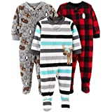Simple Joys by Carter's Boys' Toddler 3-Pack Loose Fit Flame Resistant Fleece Footed Pajamas, Arctic Animals/Stripe Mouse/Buffalo Check, 5T
