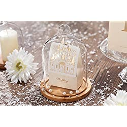 WISHMADE 50pcs Laser Cut Wedding Favor Boxes Candy Box Bride and Groom Paper Bags with Romantic Castle Design(White) CB5093