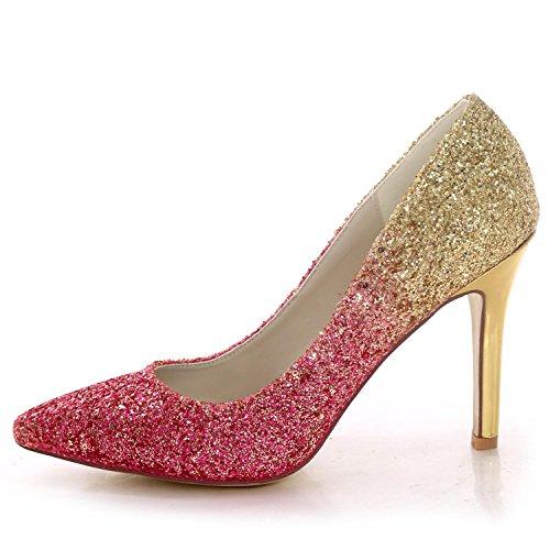High Party 44 Chaussures Shoes Mariage Court Toe Black Bridal 0608 pour Paillettes Court Heel d'été de YC Closed Femmes L PRpFvnP