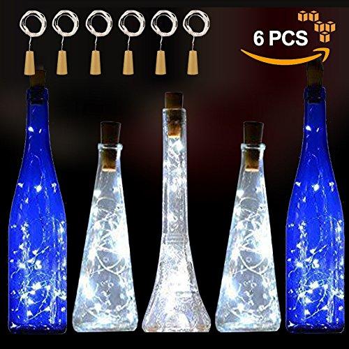 Wine Bottle Cork Halloween Costume (White Wine Bottle Cork Lights Starry 20 LED String Silver Wire Lights for Wine Bottles Battery Powered 6 Pack)
