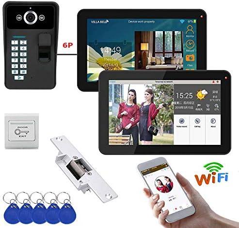 電気ストライクロック+ IR-CUT HD 1000TVLカメラ付き9インチ2つのモニタWifiの指紋ビデオドア電話ドアベルインターホンシステム