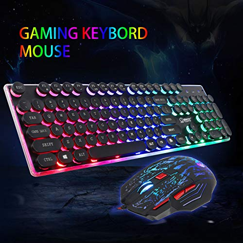 EEEKit 2in1 Rainbow LED Gaming Keyboard and Mouse Combo Set, Multi-Colored Backlight for PS4 Xbox One Windows PC Gamer Desktop, Computer
