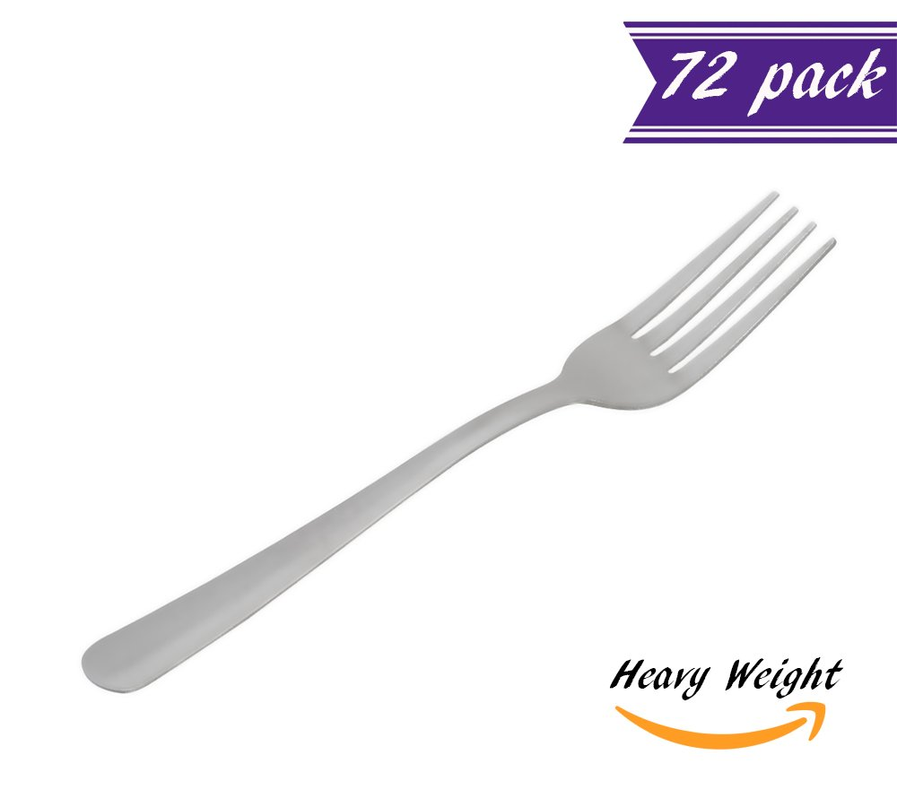 (Set of 72) Grosseto Dinner Forks, Heavy Weight 18 Stainless Steel 7 -Inch Table Forks for Restaurant/Catering, Commercial Quality Silverware Flatware Set