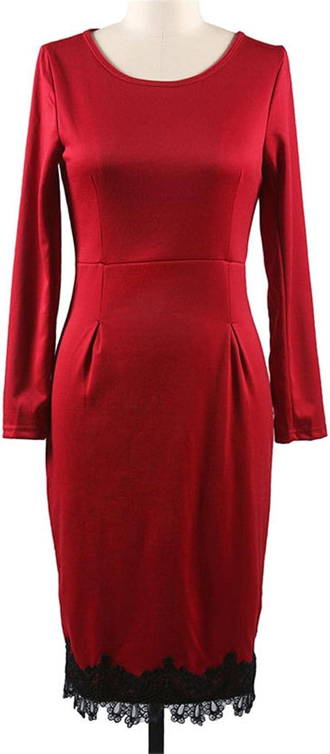 DaBag-De color puro cadera de encaje cintura apretada falda ...