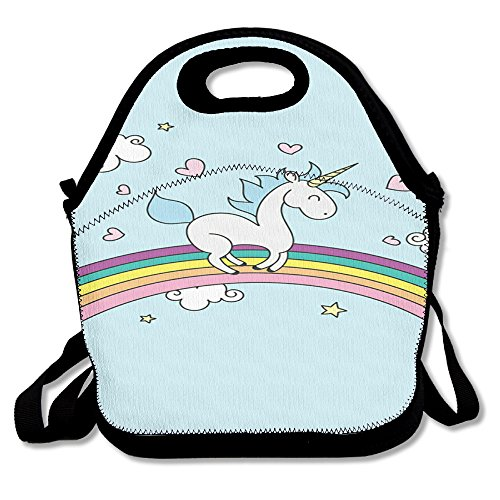 Unicorn Horse Retro Insulated Heating Polyester Shoulder Strap Women Men Kids Toddler Black Lunch Bag Tote Lunch Box For Travel Office
