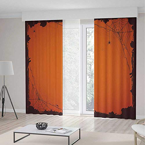 iPrint Spider Web Long Curtains,Grunge Halloween Composition Scary Framework Insects Abstract Cobweb,Window Drapes 2 Panel Set, Living Room Bedroom,157 W 95 L,Orange Brown
