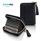 Accordion Zipper Wallet for Men and Women, Genuine Leather Card Holder for Travel and Work, for Business Cards, and Driver License, RFID Blocking Wallet for Credit Cards and Money Pendant Black