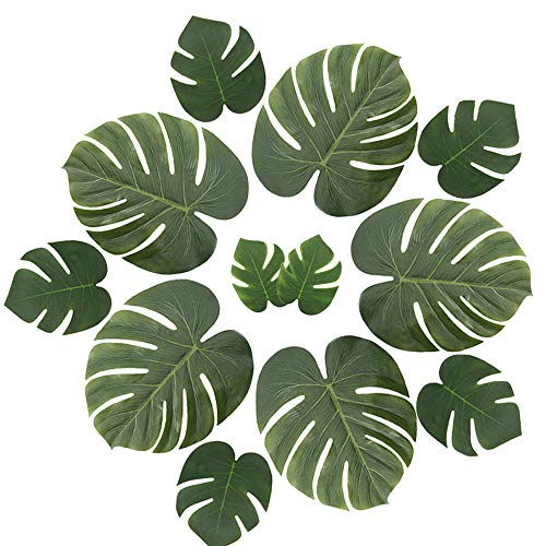 ManYee Tropical Palm Leaves 36 Pcs Artificial Monstera Leaf Large Palm Leaves Decorations for Luau Safari Jungle Birthday Party Hawaiian Theme Wedding Baby Shower Decor 3 Sizes -