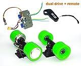L-faster Electric Skateboard Brushless Hub Motor Kit DIY Child E-Board Electric 4-Wheel Skateboard Dual Drive Conversion Kit with Remote (Green kit)