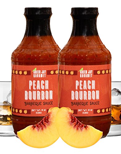 Bbq Sauce Tomato Paste - Green Jay Gourmet BBQ Sauce - Peach Bourbon - All-Natural Barbecue Sauce with Peaches, Gourmet Spices, Tomato Paste & More - Gourmet Barbecue Spread for Meats, Veggies & Other Foods - 2 x 19 Ounces