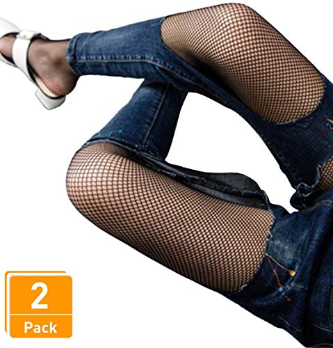 Big Hole Net - DancMolly Fishnet Stockings Pantyhose Women's 2 Pair High Waist Hollow Mesh Tights Legging Hosiery (Black/Small Hole,2 Pair, One Size)