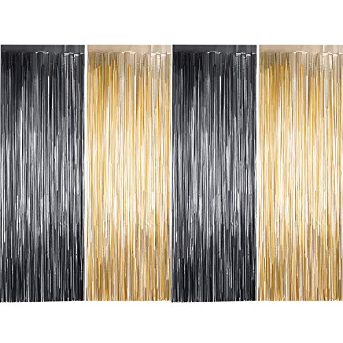 4 Pack Photo Booth Backdrops Foil Curtains Metallic Tinsel Backdrop Curtains Door Fringe Curtains for Wedding Birthday Christmas Halloween Disco Party Favour Decorations (Matt Light Gold and Black)