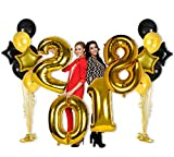 2018 New Years Eve Party Supplies Decorations, Gold Foil Number Balloons Props, 40 Inch Letter Backdrops Kit for Class Graduation, Large Mylar Sign Banner