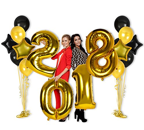 40 Inch 2018 Year Foil Mylar Balloons   Glossy Gold Foil Balloon Banner   Party Decorations For New Years Eve Parties  Graduation Party  Or Any Occasion
