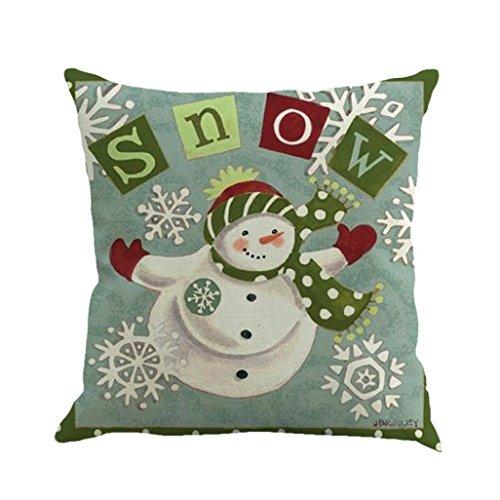 Clearance ! AmyDong Christmas presents beautiful printed linen pillowcases Merry Little Snowman Printing pattern Christmas linen pillowcase (F) Present Snowman