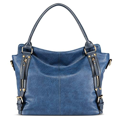 Big Capacity Hobo Bags Women Handbags PU Leather Large Tote Bags Fashion Shoulder Purse Dark Blue