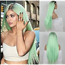 Cool2day Fashion Ombre Mint Green Long Straight Synthetic Lace Front Wig Glueless TwoTone Dark Brown/Green Heat Resistant Hair Women Wigs