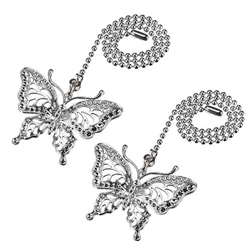 Ceiling Pull Butterfly Fan (uxcell Butterfly Chromium Finish Pendant 12 inch Silver Tone Pull Chain for Lighting Fans Pack of 2)