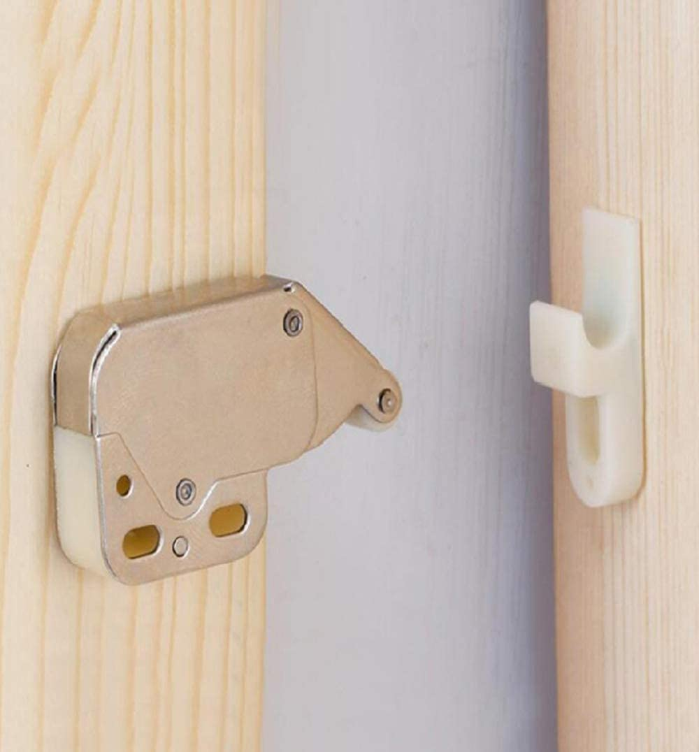 (4 Pack )Automatic Spring Snap System Push-in Touch Lock Mini Tip Latch Cabinet Door Furniture Safety Lock