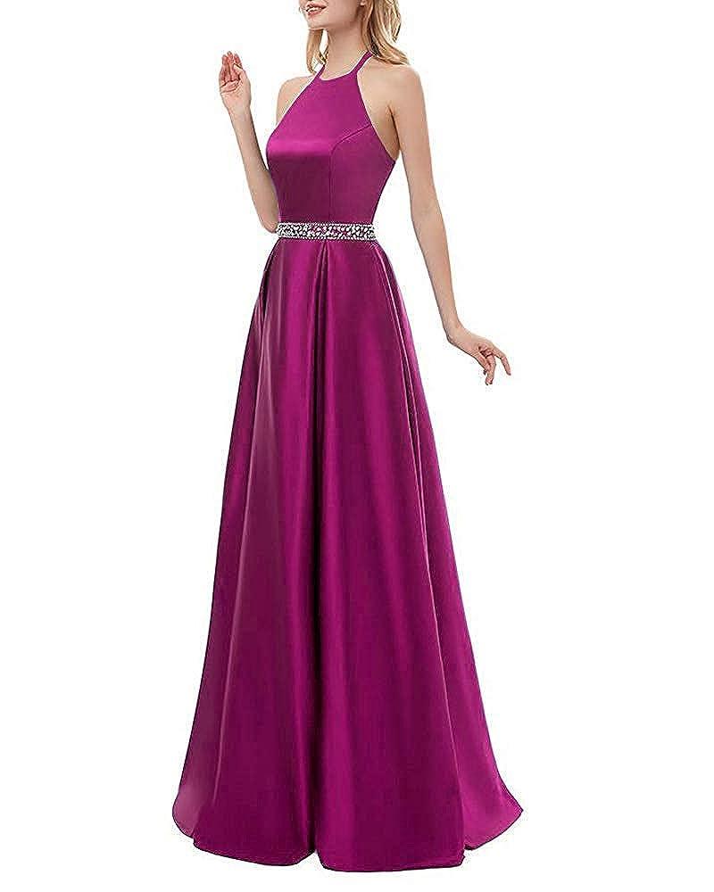 Fuchsia Beaded ZLQQ Womens Halter Beaded Prom Dress Long with Pockets Slit Beach Wedding Evening Gowns