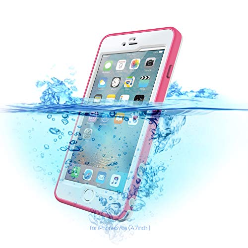IP68 Waterproof Case for iPhone 6/6S, Full Body Shockproof/Dust-Proof,Phone Case for Swimming Snorkeling (Pink, 4.7)
