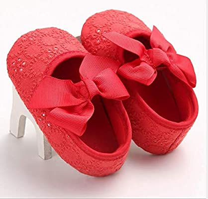 364f1f4262f2b KINGDUO Chaussures Bébé Printemps Et L Automne Nouvelle 0-1 Ans Femelle  Fond Mou Antidérapant Arc Bambin Princess Chaussons-Rouge 13