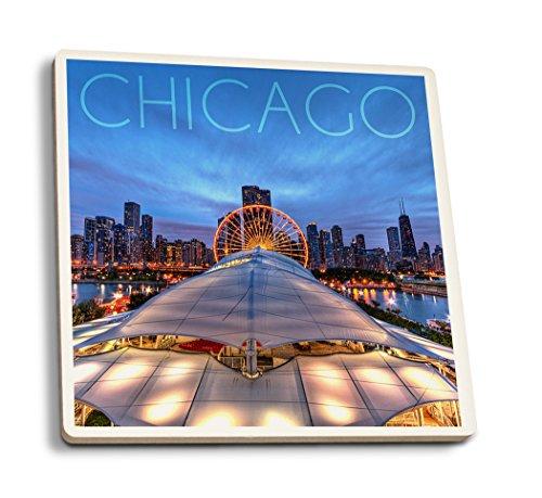 Lantern Press Chicago, Illinois - Navy Pier and Skyline (Set of 4 Ceramic Coasters - Cork-Backed, Absorbent)