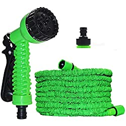 Multifunctional Expandable Garden Hose - Strongest Magic Garden Water Hose - Flexible Expandable Stretch Hosepipe with 7 Pattern Spray Nozzle for Car Garden Watering Needs - 75FT Green