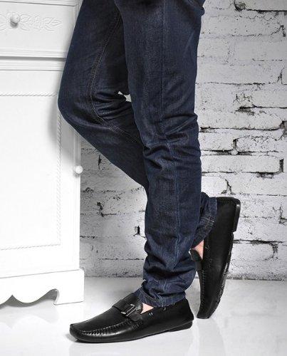 Happyshop (tm) Scarpe Casual Da Uomo In Pelle Di Mucca Mocassino Scarpe Da Guida Comfort Slip-on Penny Mocassini Neri