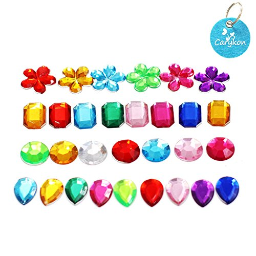 Carykon Colorful Acrylic Diamond Crystals Gems Jewels for Table Scatters Vase Fillers Event Wedding Party Birthday Decoration Pirate Treasure-Pack of 200, 4 Patterns