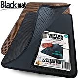 Small Cat Litter Trapper by iPrimio - Litter Mat, EZ Clean Cat Mat, Litter Box Mat Water Proof Layer and Puppy Pad Option. Patent Pending. (23''x21'' Black)