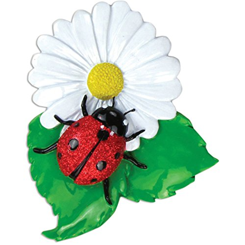 Personalized Ladybug Christmas Tree Ornament 2019 - Cute Glitter Lady-Bird on Daisy Flower Leaves Coccinellidae Beetle Good Luck Year Omen Children Bishop-Barnaby Gift - Free Customization