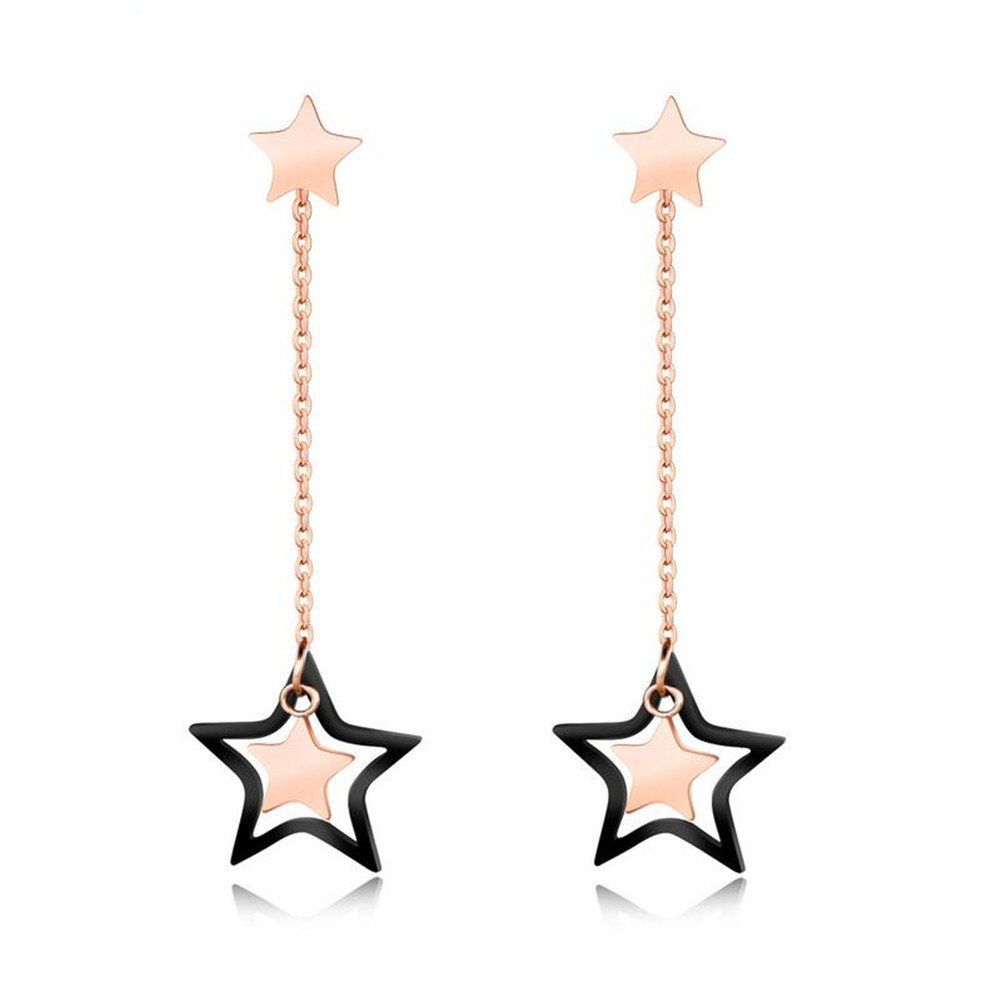 Youlixuess Style Design Fashion Rose Gold Pentagram Star Stud Earrings for Women Girls Jewelry YLSJ0044