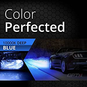 OPT7 Blitz 55w HID Xenon Kit for High Beams - Relay Bundle - 5x Brighter - 4x Longer Life - All Colors and Sizes - 2 Yr Warranty [H1 - 10K Deep Blue Light]