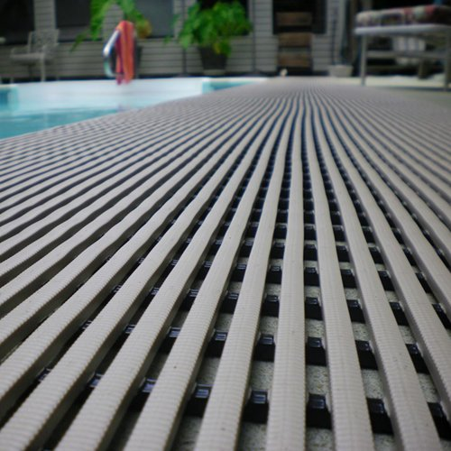 VinGrate Mat Wet Area Floor Matting for Swimming Pool Shower/Locker Room Bathroom Sauna SPA 4-Way Water Drain Indoor/Outdoor Use 3/8'' Thick Non-Slip Comfortable on Barefoot (3' x 10', Gray, 1) by MattingExperts (Image #2)