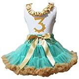 Petitebella Dress Neck Ruffle Birthday 3rd Shirt Aqua Blue Gold Girl Skirt 1-8y (3-4 Years)