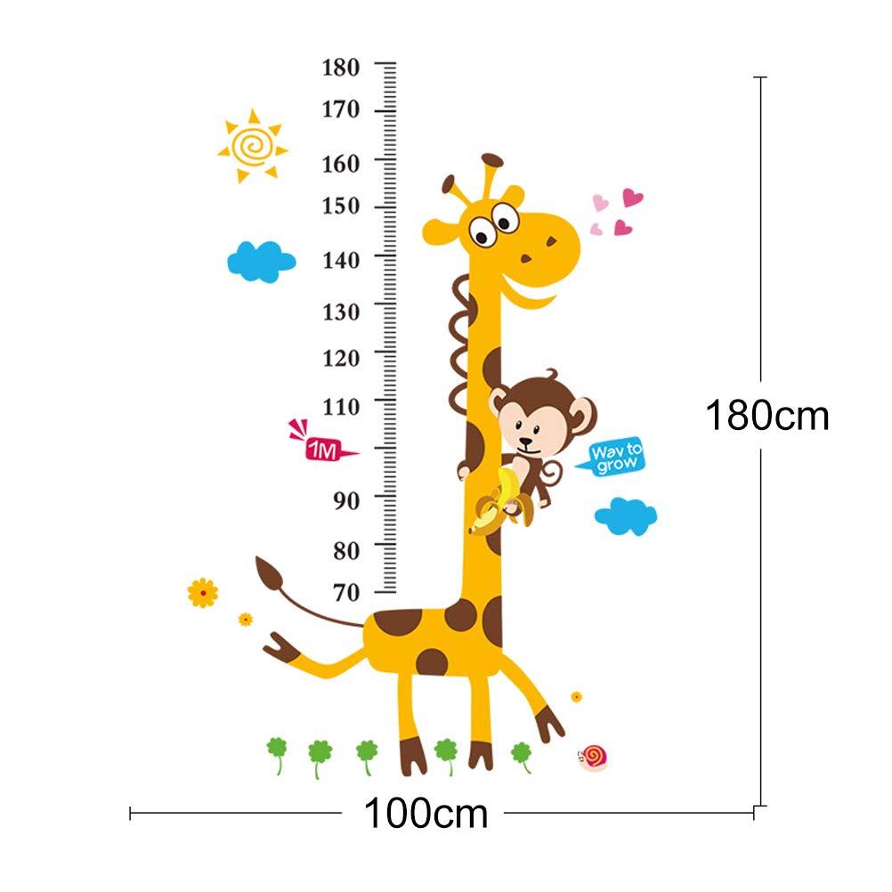 Giraffe Odowalker Baby Growth Chart Giraffe Animal Wall Decals Handing Ruler Wall Decor for Kids, Animal Vinyl Peel Stick Mural Art Animal Wallpaper Children Baby Family Bedroom