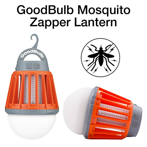 GoodBulb Mosquito Zapper - Bug Zapper Light - Waterproof Lantern - Camping Accessories - 1 Watt LED Bulb - 2000mAh USB Lantern - Retractable Hook (Orange) by GoodBulb